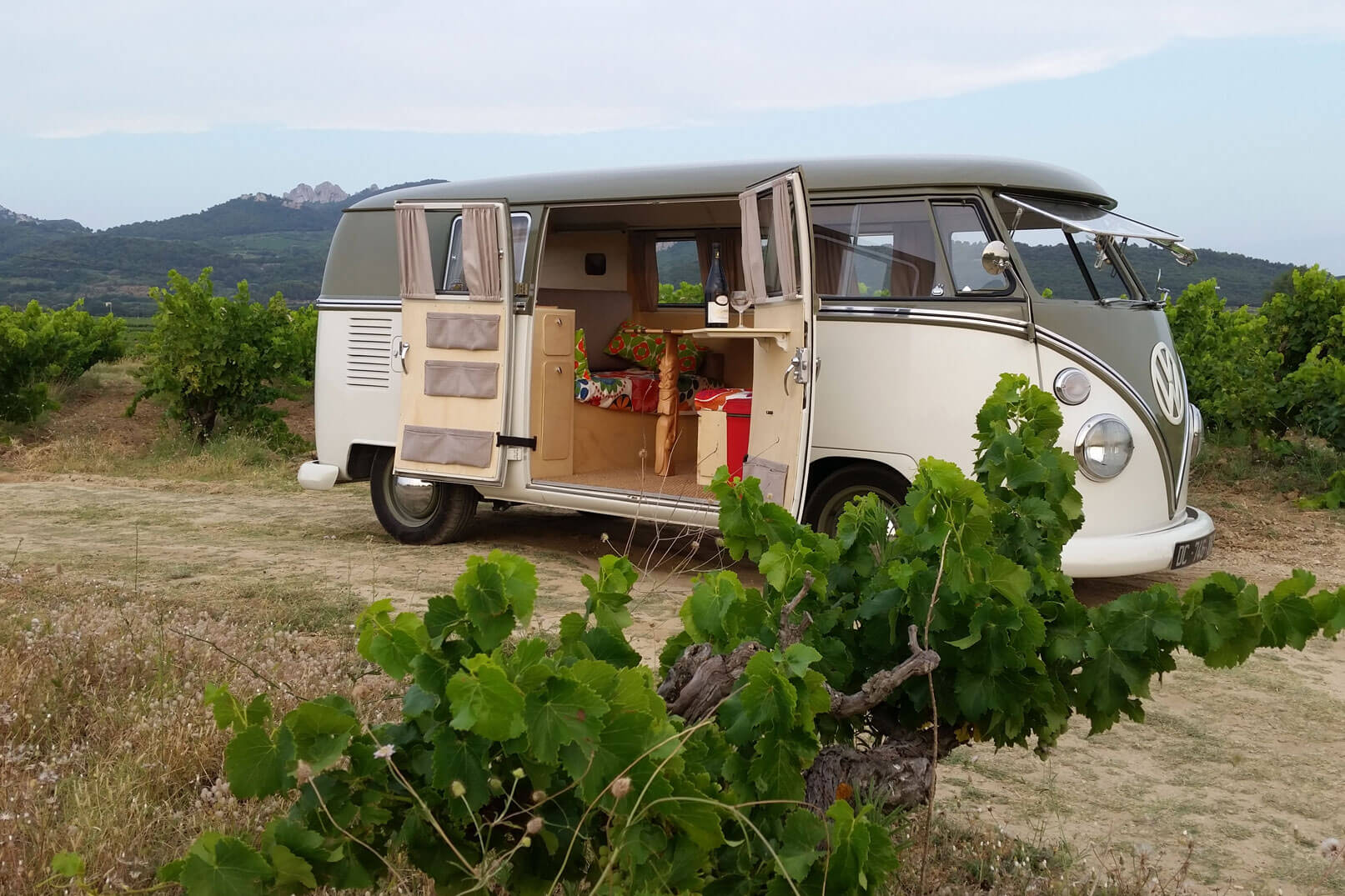 Through the vineyards in a vintage Volkswagen minivan